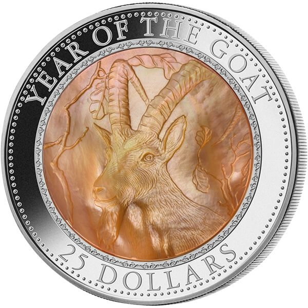 Cook Islands 2015 25$  Lunar 2015 - Year of the Goat 5 oz with Mother of Pearl Proof Silver Coin
