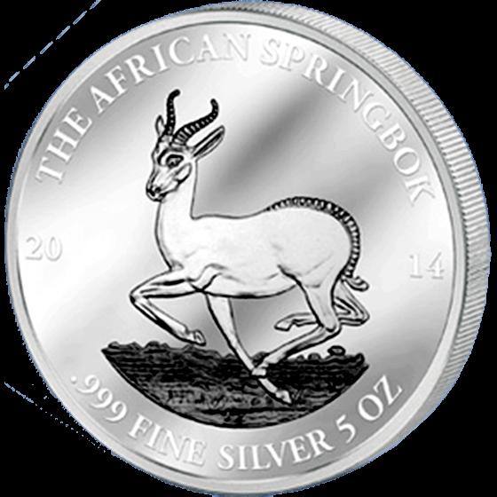 Gabon 2014 3000 Franks CFA  African Springbok 5 Oz Proof and Antique finish Silver Coin