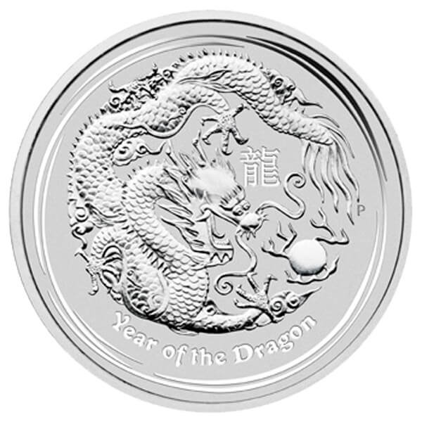 Australia 2012 1$ Year of the Dragon UNC Silver Coin