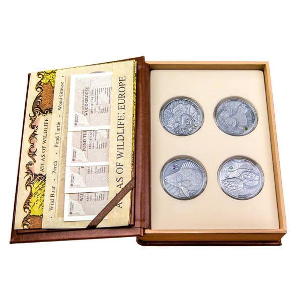 Andorra 2014 4 x 10 diners  Europe Atlas of Wildlife Antique finish Silver Set
