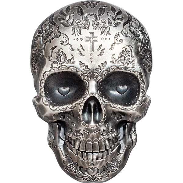 La Catrina Skull 1 oz Antique finish Silver Coin 5$ Palau 2018