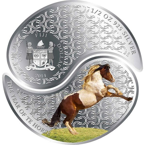 Year of the Horse  YIN YANG COINS  Proof Silver Coin 2 $ Fiji 2014