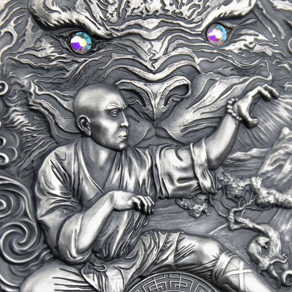 Shaolin Tiger Martial Arts Styles 2 oz Antique finish Silver Coin 5$ Niue 2021