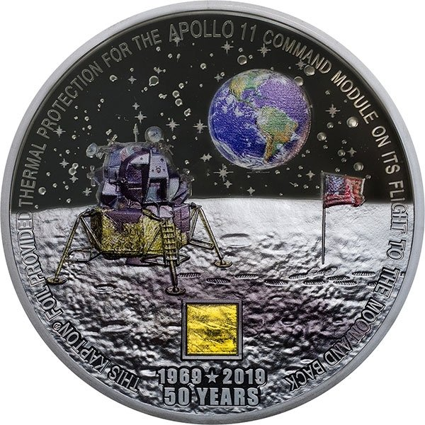 Apollo 11 50th Anniversary of Moon Landing 3 oz Black Proof Silver Coin 20$ Cook Islands 2019