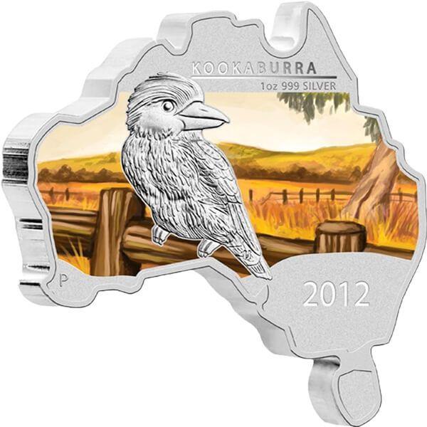 Kookaburra - map-shape Proof Silver Coin 1 $ Australia 2012
