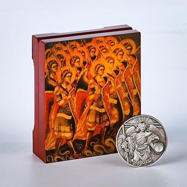Gabriel - The Choir of Angels 65 g Antique Finish Silver Coin 5$ Niue 2017