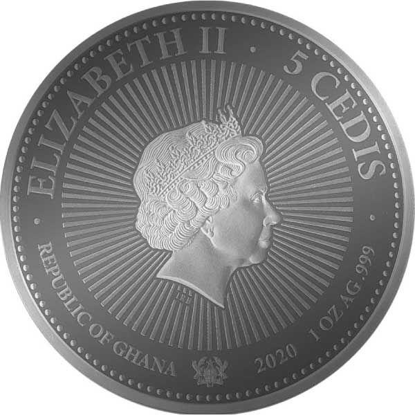Diamond Racoon 1 oz BU Silver Coin 5 Cedis Republic of Ghana 2020