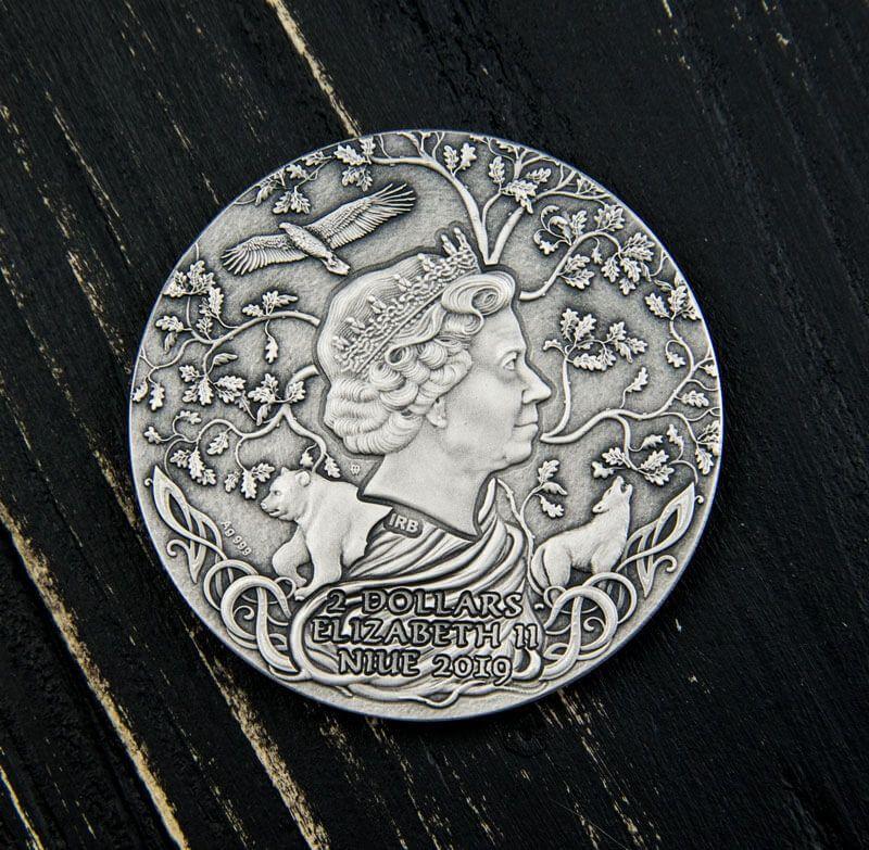 Svetovid Slavic Gods 2oz Antique Finish Silver Coin 2$ Niue 2019