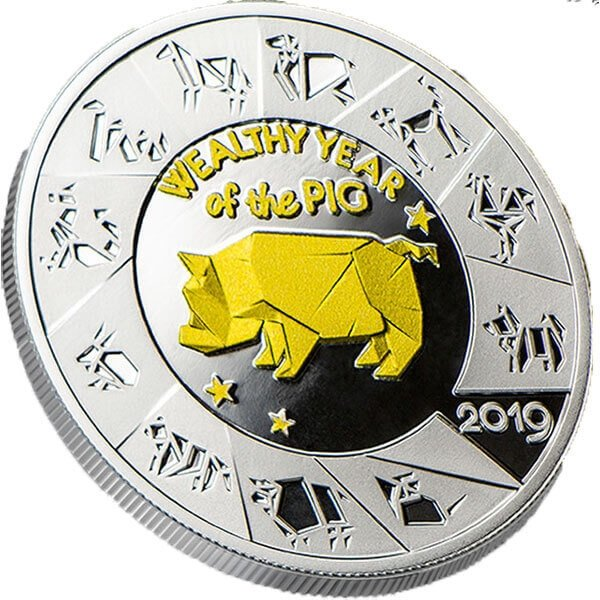 Wealthy Year of the Pig Proof Silver Coin 1$ Niue 2019