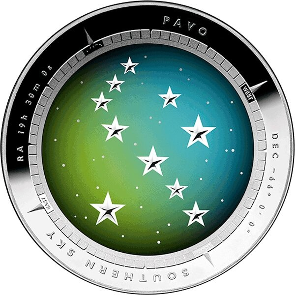 Australia 2013 5$ Color Domed - Pavo Southern Sky Proof Silver Coin
