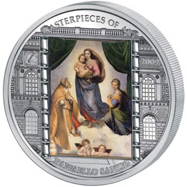"""Cook Islands 2009 20$ """"Sistine Madonna"""" Raphael Masterpieces of Art 3 Oz Proof Silver Coin"""