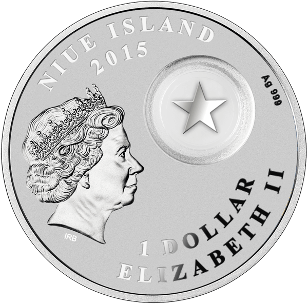 Niue 2015 1$ Merry Christmas Proof Silver Coin with filigree star