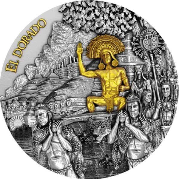 El Dorado 2 oz Antique finish Silver Coin 5$ Niue 2020