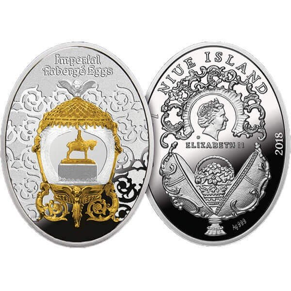 Alexander III Equestrian Egg Imperial Faberge Eggs Proof Silver Coin 1$ Niue 2018
