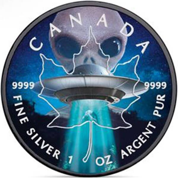 Glow in the Dark - Alien and Ufo Maple Leaf 1oz Black ruthenium BU Silver Coin 5$ Canada 2018