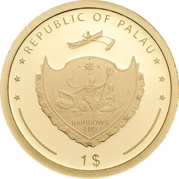 Four-Leaf Clover Good Luck 1g Proof Gold Coin 1$ Palau 2018