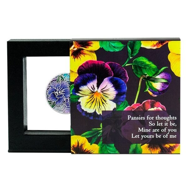 Pansy Language of Flowers Proof Silver Coin 500 Francs Cameroon 2020