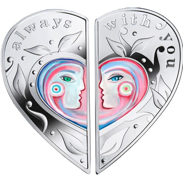 Niue 2017 2 x 1$ Always with You Proof Silver Puzzle Set