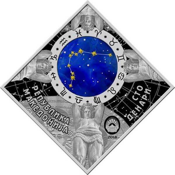 Aries Zodiac signs 2018 Proof Silver Coin 100 Denars Macedonia 2018