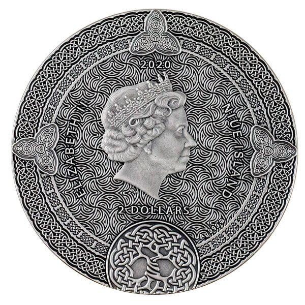 Celtic Calendar 2 oz Antique finish Silver Coin 2$ Niue 2020