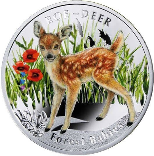 Roe-Deer Forest Babies  Proof Silver Coin 1$ Niue 2014