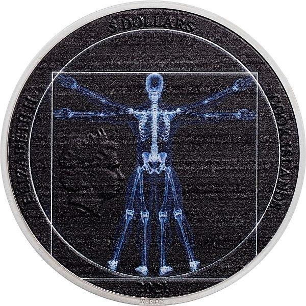 Vitruvian Man X-Ray 1 oz Proof Silver Coin 5$ Cook Islands 2021