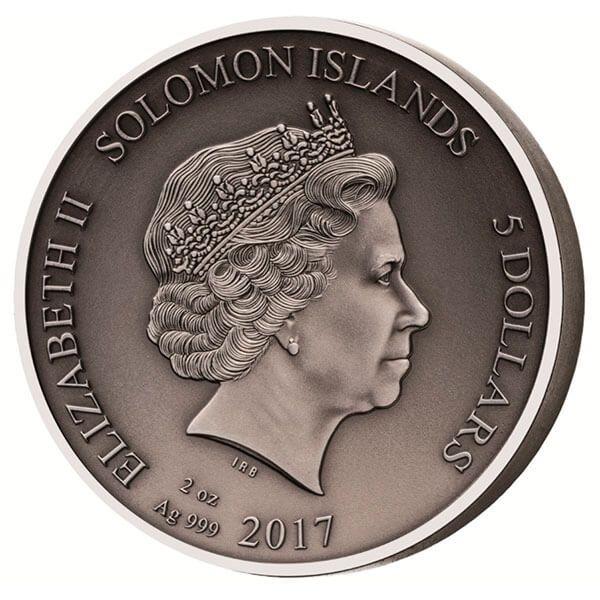 The Gladiators Secutor 2 oz Antigue finish Silver Coin 5$ Solomon Islands 2017