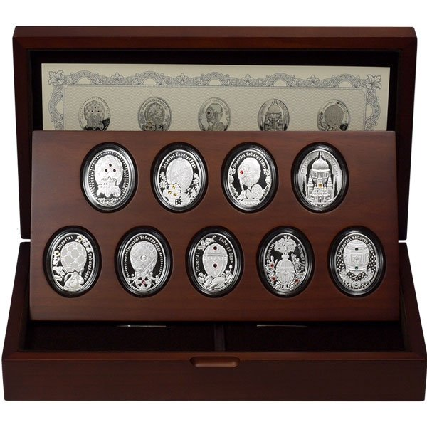 Niue 2013 9 x 1$ Imperial Faberge Egg Series Proof Silver Set
