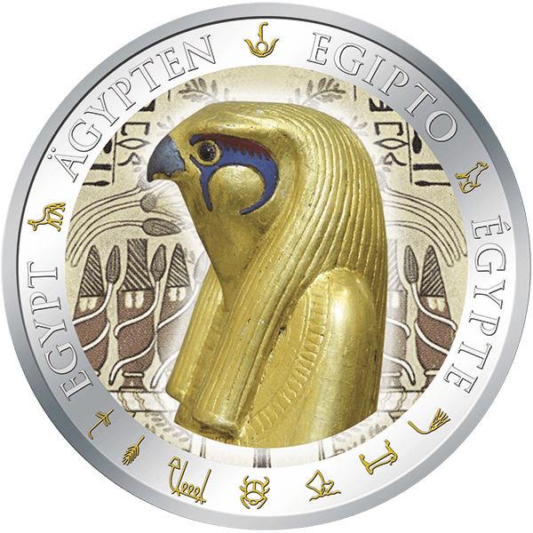 Fiji 2012 1$ Horus Golden and Colorful EgyptProof Silver Coin