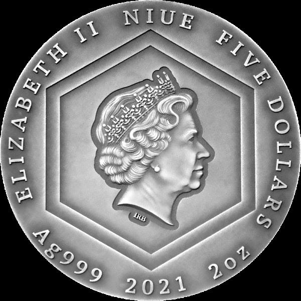 Honey Bee 2 oz Antique finish Silver Coin 5$ Niue 2021