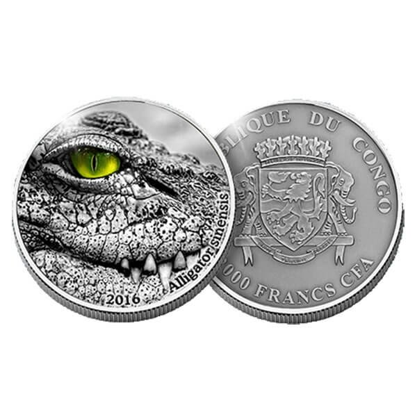 Congo 2016 2000 franc Nature's Eyes China-Alligator  2 oz Antique finish Silver Coin