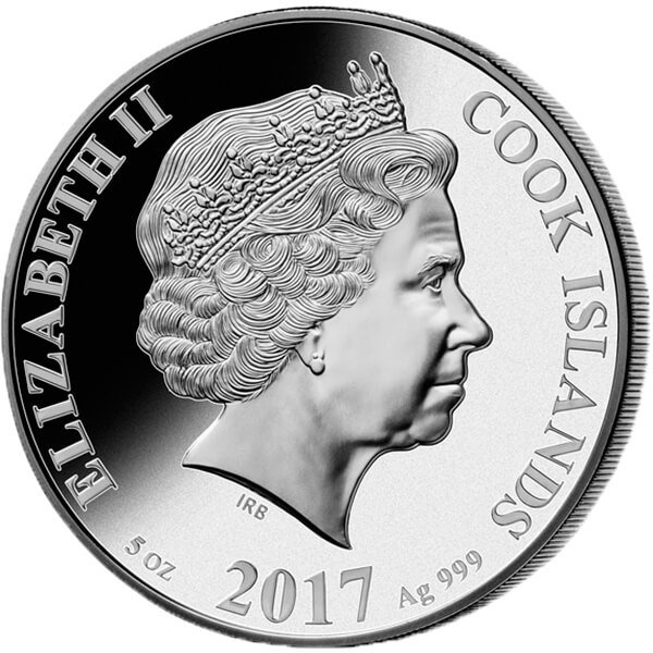 Cook Islands 2017 25$ Mother of Pearl - The Bicycle 5 oz Proof Silver Coin