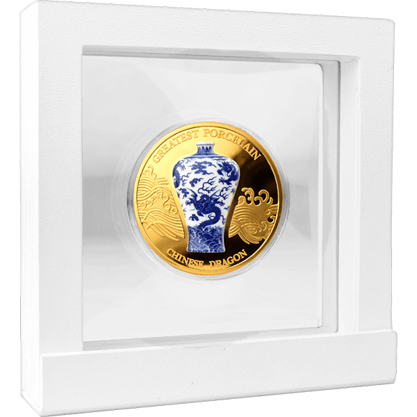 Chinese Dragon Greatest Porcelain 2 oz Proof-like Silver Coin 10 Cedis Republic of Ghana 2021