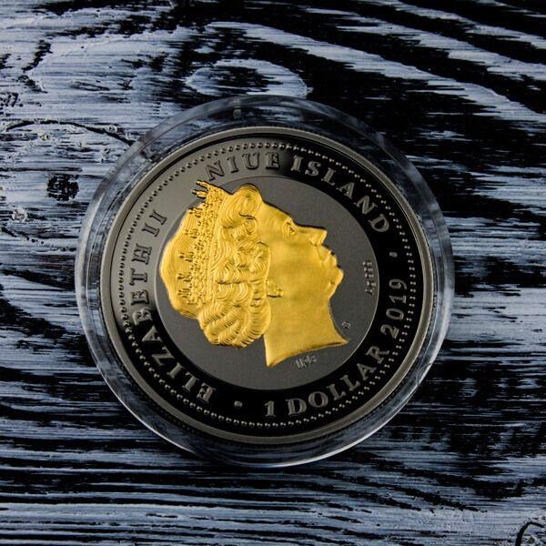 Ruby Scarabaeus Proof Black Ruthenium Silver Coin 1$ Niue 2019
