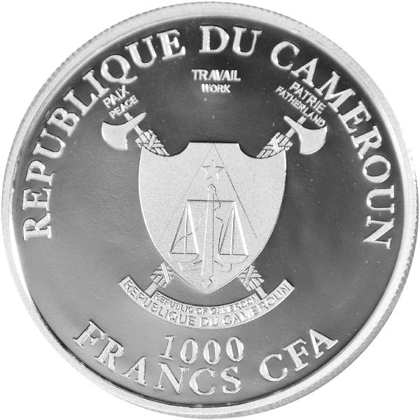Diamond Tiger 1 oz BU Silver Coin 1000 Francs CFA Cameroon 2019