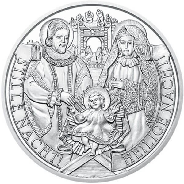 The 200th Anniversary of Silent Night Proof Glowing in the dark Silver Coin 20 Euro Austria 2018