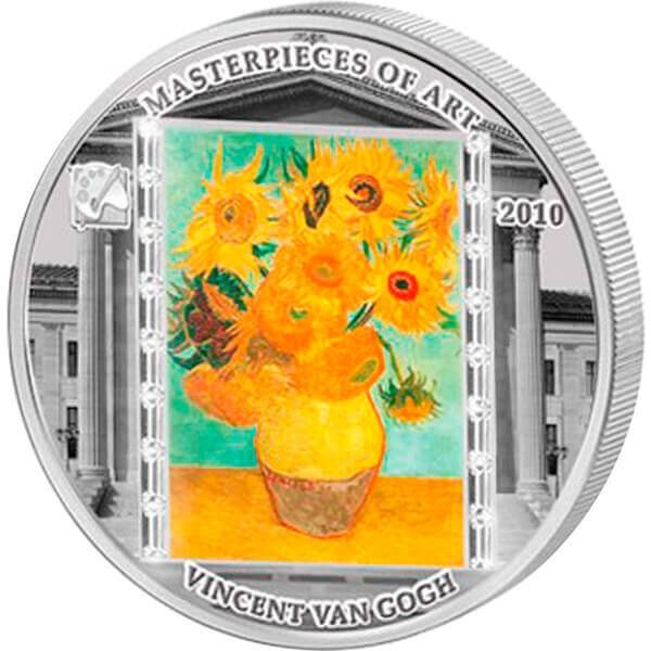 """Cook Islands 2010 20$ """"Sunflowers"""" Vincent van Gogh Masterpieces of Art 3 Oz Proof Silver Coin"""