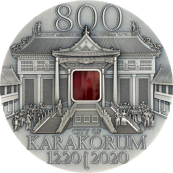 Karakorum 800th Anniversary 2 oz Antique finish Silver Coin Mongolia 2020 5000 togrog
