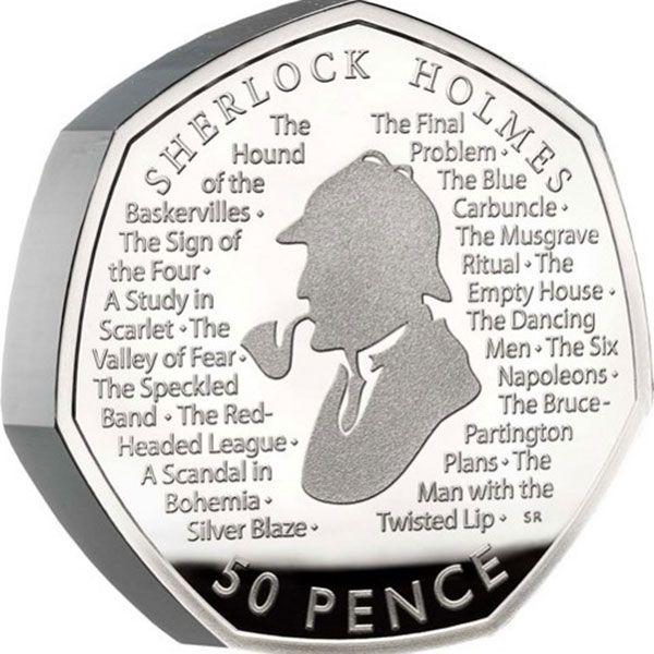 A Celebration of Sherlock Holmes Proof Silver Piedfort Coin 50p United Kingdom 2019
