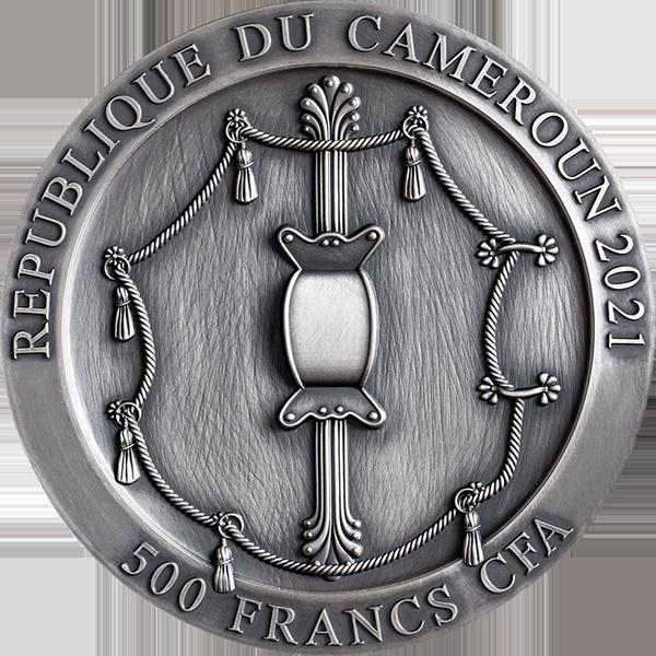 Spartan Hoplite Legendary Warriors 1/2 oz Antique finish Silver Coin 500 Francs CFA Cameroon 2021
