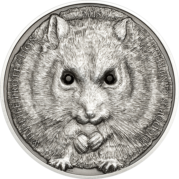 Mongolia 2015 500 togrog Campbell's Hamster Wildlife Protection Silver Antique Finish Coin