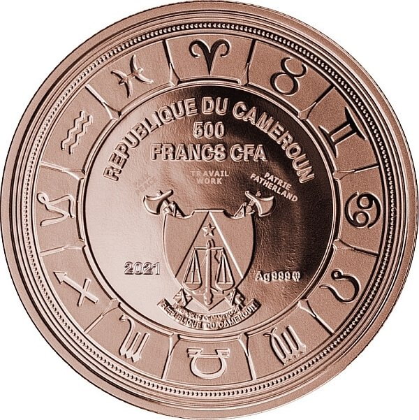 Leo Zodiac Signs Proof Silver Coin 500 Francs CFA Cameroon 2021