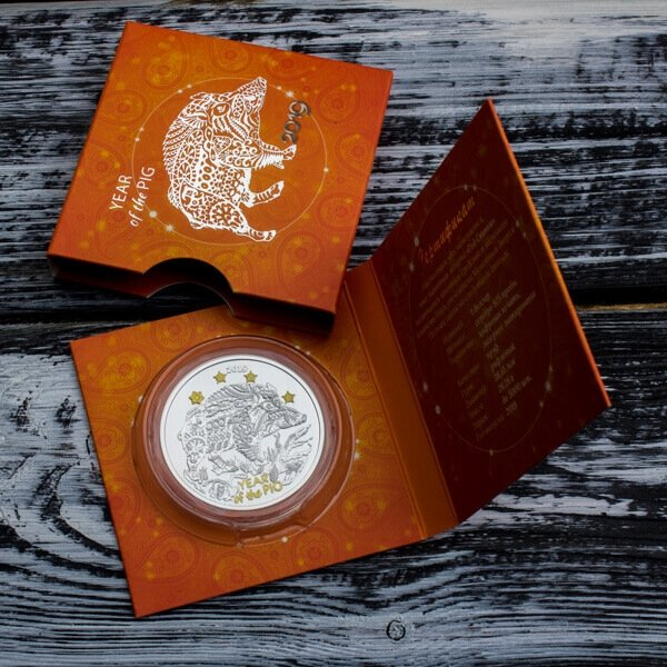 Year of the Pig Chinese Calendar Proof Silver Coin 1$ Niue 2019