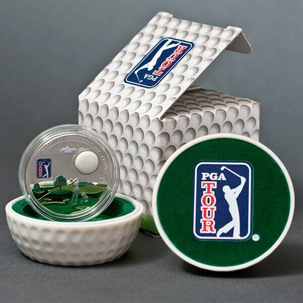Cook Islands 2012 5$ PGA TOUR - Golf Ball Proof Silver Coin