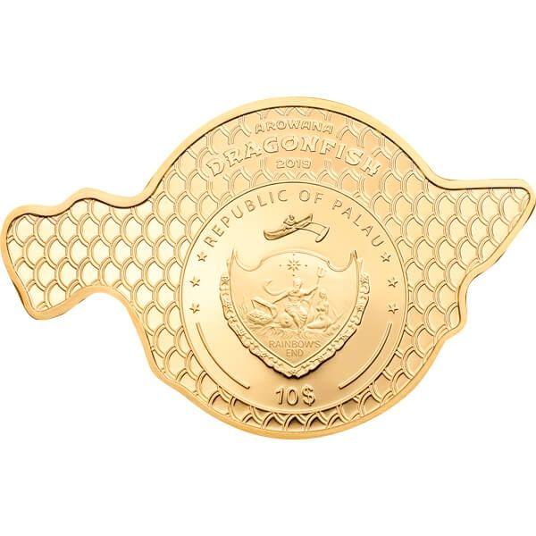 Golden Arowana Dragonfish 2 oz Proof Silver Coin 10$ Palau 2019