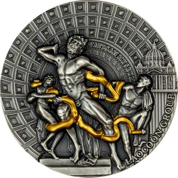 Laocoon Group Masterpieces of Sculptural Art  2 oz Antique finish Silver Coin 2000 Francs Cameroon 2020