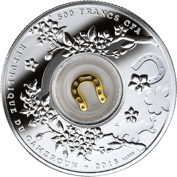 Cameroon 2016 500 Francs Seven Horseshoes Lucky Seven Proof Silver Coin