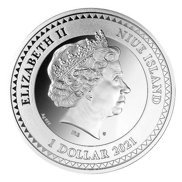 Mermaid 1oz Proof Silver Coin 1$ Niue 2021