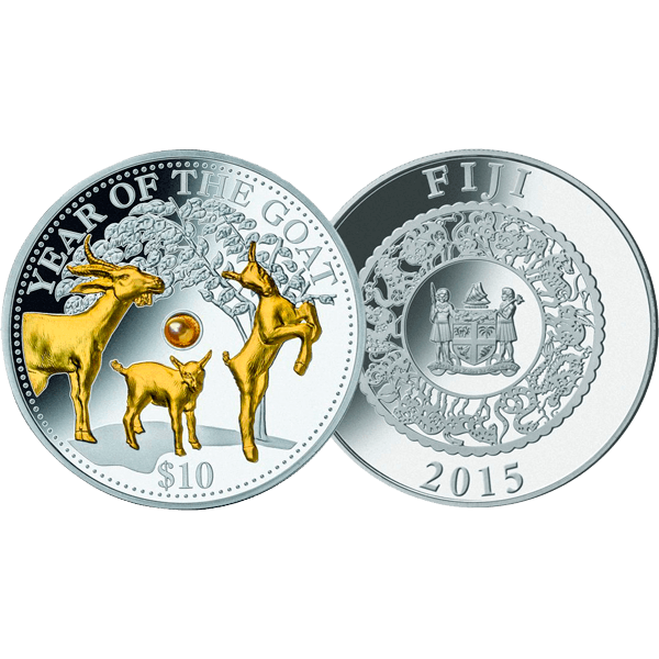 Fiji 2015 10$ Year of the Goat  Lunar 2015  Proof Silver Coin with Pearl