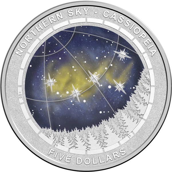 Australia 2016 5$ Cassiopeia Northern Sky 1oz Proof Silver Coin